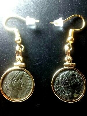 A Pair of Authentic Ancient Roman Coin Earrings Gold-Filled Bezel Pendants Lot#1
