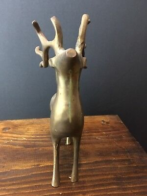 Vintage Brass Elegant Heavy Tall Deer Reindeer Candle Holder Candelabra