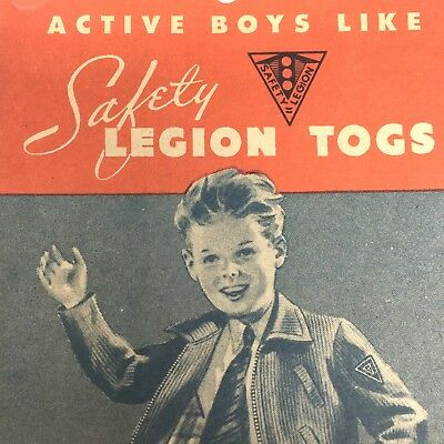 Safety Legion Togs Boys Clothes Uncle Safety Winner House Hang Tag Vintage 1940s