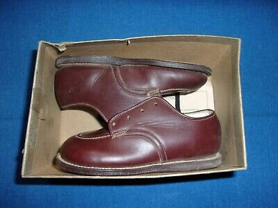 ANTIQUE BUSTER BROWN 1940s CHILDREN'S KIDS BROWN LEATHER SHOE SHOES & BOX NOS