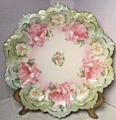 Antique M Z Austria Peonies Roses Plate Pink White Green Ruffled Edge