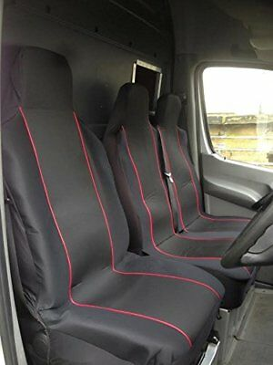 Renault Trafic 2010 - Heavy Duty Red Trim Van Seat Covers - Single + Double