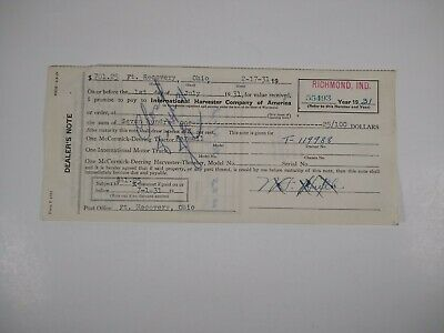 International Harvester Farmall Tractor Dealer's Promissory Note 1931