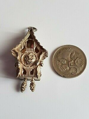 1918 large sterling silver Cookoo Clock Charm. Articulated pendulums & bird