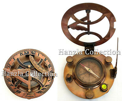 "4"" West London Vintage Brass Sundial Antique Marine Nautical Navigation Compass"