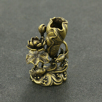 Chinese antique pure brass carved lotus flower fish lucky Small ornaments