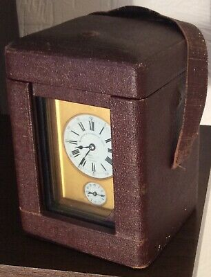 Superb Repeater Antique Carriage Alarm Clock original leather case, complete!