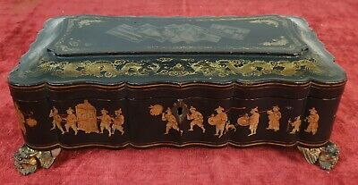 Chinese Box. For Board Games. Lacquered And Golden By Hand. Xix Century