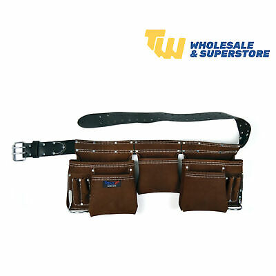 Heavy Duty 11 Pocket Professional Double Pouch Leather Tool Belt Brown leather
