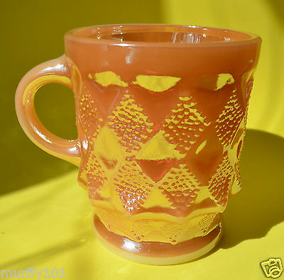 VINTAGE KITCHEN  - FIRE-KING, ANCHOR HOCKING - PEACH LUSTER Pineapple MUG