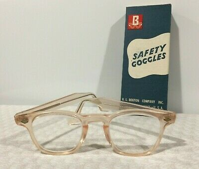 Vintage Eyewear Bouton Pink Safety Goggles Glasses Frames Clear Lens 4.5 Temple