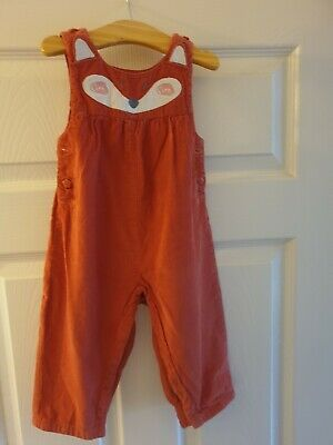 Jojo Maman Bebe Baby Fox Dungarees 6-12 Months In Excellent Condition
