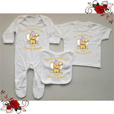 Personalised Baby Grow / T-Shirt / Bib Mother's Day Gift Set - Elephant Style 2