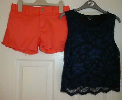 GIRLS TOP by NEW LOOK + DENIM SHORTS by BLUE ZOO FOR A GIRL, AGE 10 - 11 YEARS