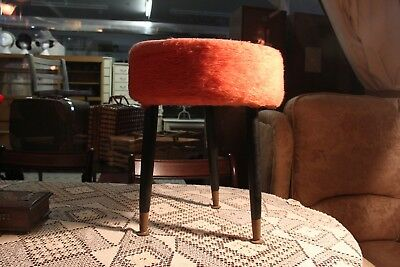 Vintage 1960s Fluffy Furry Orange Three Legged Stool Retro Atomic Dansette Legs