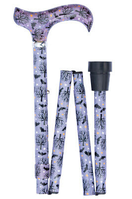 Folding Contemporary Chic Derby Cane - Bats at Night