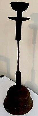 Old Antique Style Cast Wrought Iron Oil Burner Candlestick Blacksmith Art Twist