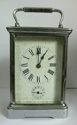F L Carriage Clock. Spares or repair. Height 17.5cm. Weight 1.5kg.