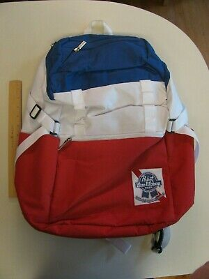 Pabst Blue Ribbon Beer PBR Backpack Red White Blue Pack Bag