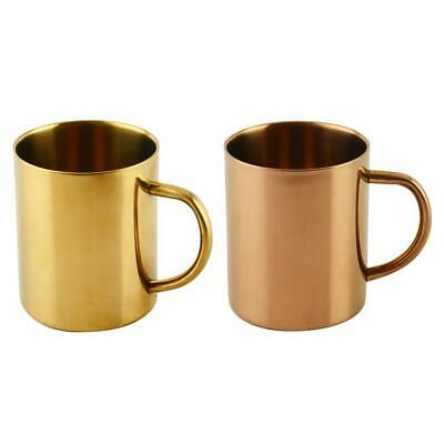 VS2# Gold/Brass Plated Stainless Steel Water Tea Coffee Mug Double Wall Teacup