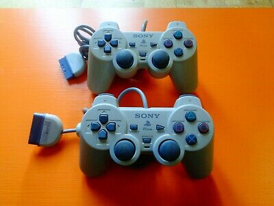 2 X Sony Dual Shock 2 Official Wired Original Playstation PS2 Controller Grey