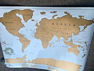 Scratch Off World Map Poster  Travel Vacation Log Gift Large Size New