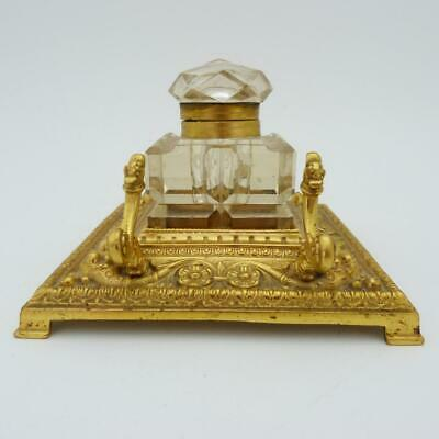 Antique French Ormolu Inkwell, Stand And Pen Holder, 19Th Century
