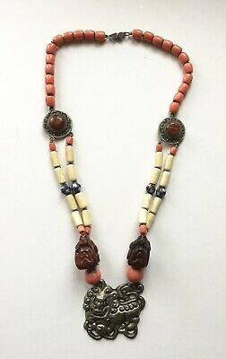 Large Antique/Vintage Chinese Pendant Necklace. Carved Beads, Cloisonné. Foo Dog