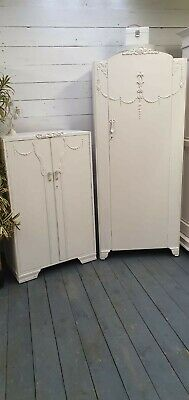 Vintage Painted Tallboy and Wardrobe PRIVATE SALE FOR NADIA do not purchase