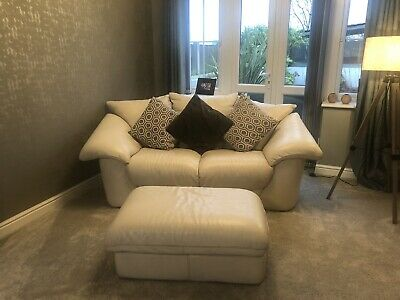 Leather Suite, Cream. 3 & 2 Seater, Chair And Large Footstool / Storage Box