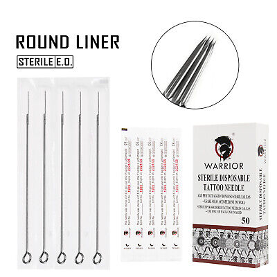 WARRIOR Aghi Tattoo Acciaio Chirurgico Monouso Sterile Round Liner 0.30/0.35mm