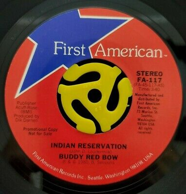 Rock 45 - Buddy Red Bow - Indian Reservation - First American Vg++ HEAR