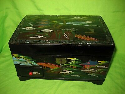 Antique Japanese Hand Painted  Music Jewellery Box with Mother of Pearl Inlay