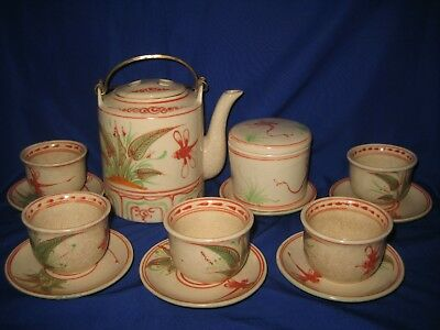 Antique / Vintage  Chinese / Japanese  Hand Painted  Dragonfly Pottery  Tea Set