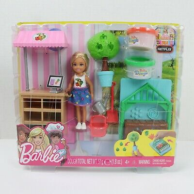 Barbie Little Sister Chelsea Doll and Veggie Garden Playset with Dough