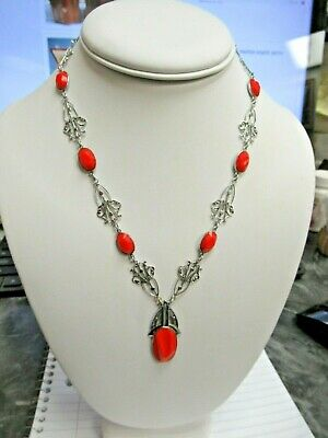 Antique Art Deco Czech Faux Coral Cut & Molded Cabs Scroll Metal Necklace Nice!