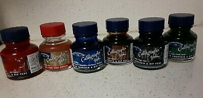 Winsor & Newton Calligraphy Ink Gold Red Green Black Blue Sepia 30ml