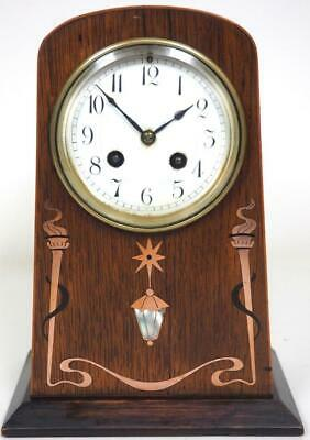Antique Oak Inlaid Mantel Clock French Mantle Clock Inlaid 8 Day Striking Clock