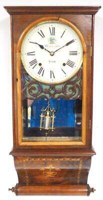 Antique Burr Walnut Wall Clock Drop Dial Wall Clock 1890 8Day Clock Willard York