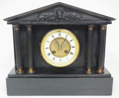 Antique French Mantel Clock 8 Day Gong Striking Marble Slate Mantle Clock c1890