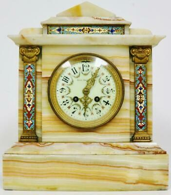 Antique French Onyx & Champleve Mantel Clock 8 Day Gong Striking Mantle Clock