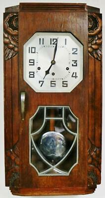 Antique Art Deco Edwardian Musical Wall Clock 8 Day Westminster Chime Wall Clock