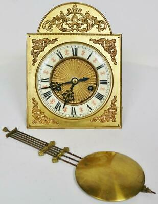 Antique Gustav Becker 8 Day Gong Striking Wall Clock Movement Brass Arch Dial