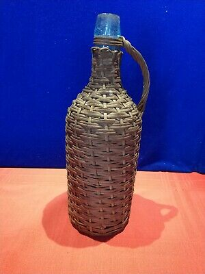 "Vintage Wood Wicker Wrapped Wine Glass BOTTLE 13 3/4"" Tall"