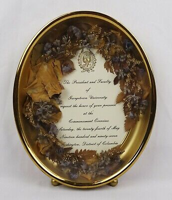 Vintage Dried Pressed Flowers Oval Photo Picture Frame