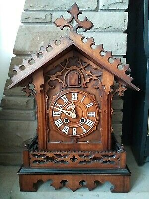 Late antique Victorian Cuckoo mantel Clock Made by G.h.S In Excellent Condition