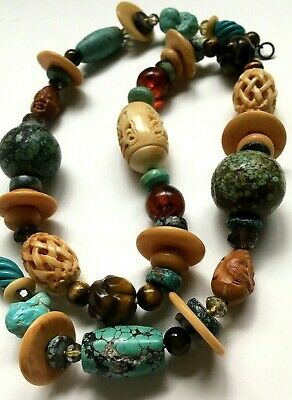 Antique Old Chinese Huge Tibetan Bead Turquoise Carved Tiger Eye Jade Amber Neck