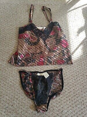 Vtg Victorias Secret 80s Sexy String bikini Panties and matching Cami in size S