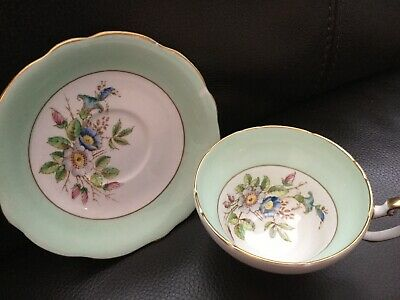 Foley China E Brain Vintage Cabinet Tea Cup & Saucer Green Flowers