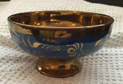 Antique Victorian Copper Lustre Ware Footed Bowl Beautiful Hand Painted